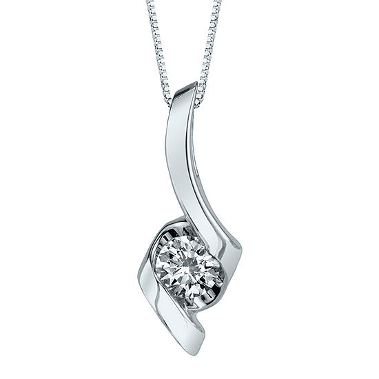 Sirena 13 ct diamond solitaire 14k white gold pendant necklace diamond solitaire 14k white gold pendant necklace mozeypictures