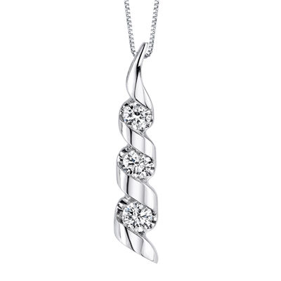Sirena® 1/2 CT. T.W. Diamond 14K White Gold 3-Stone Pendant Necklace