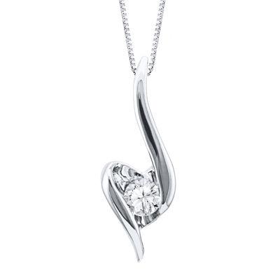 Sirena® 1/7 CT. Diamond Solitaire 14K White Gold Pendant Necklace