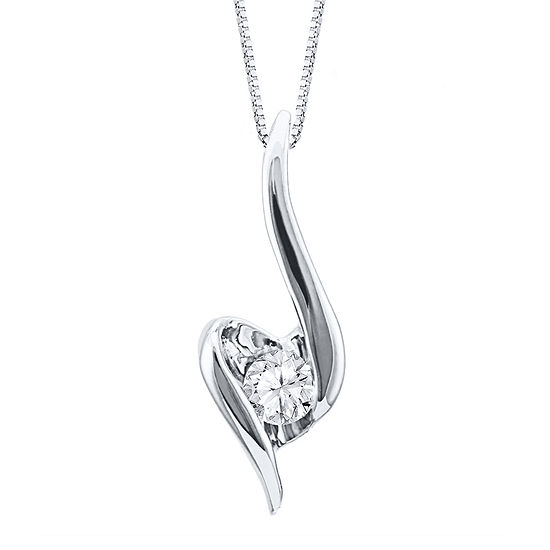 Sirena® 1/7 CT. Diamond Solitaire 14K White Gold Pendant Necklace