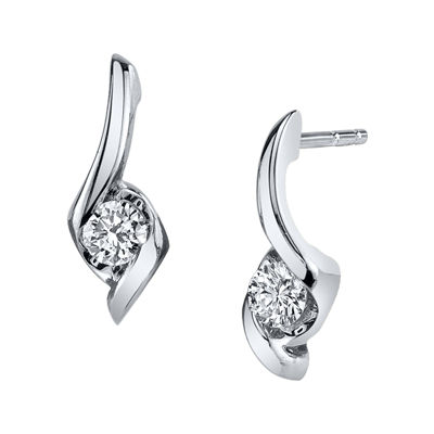 Sirena® 1/8 CT. T.W. Round Diamond 14K White Gold Earrings