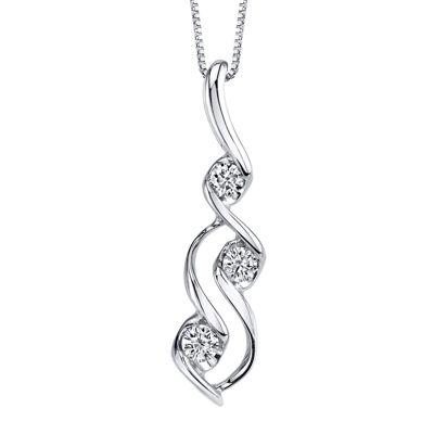 Sirena® 1/3 CT.  Diamond 14K White Gold Pendant Necklace
