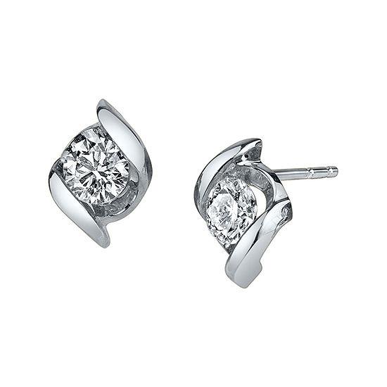 T W Round Diamond 14k White Gold Earrings