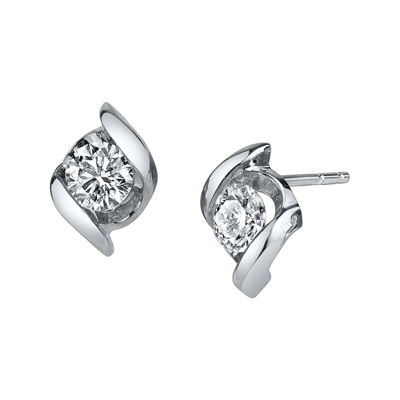 Sirena® 1/2 CT. T.W. Round Diamond 14K White Gold Earrings