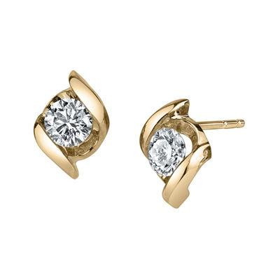 Sirena® 1/3 CT. T.W. Round Diamond 14K Yellow Gold Earrings