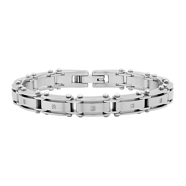 Diamond-Accent Stainless Steel Chain Bracelet
