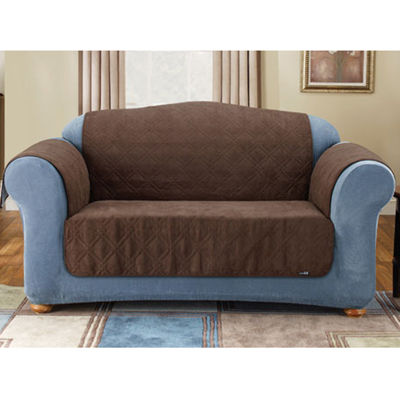 SURE FIT® Quilted Velvet Deluxe Loveseat Pet Furniture Cover