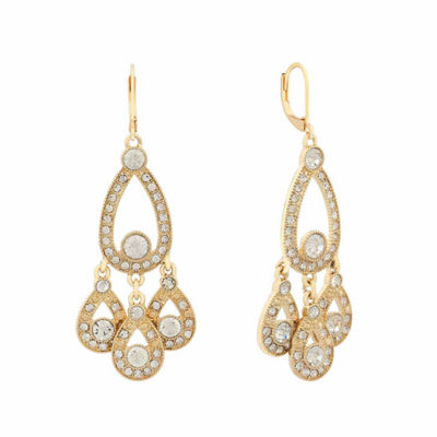 Monet Jewelry White Pear Chandelier Earrings
