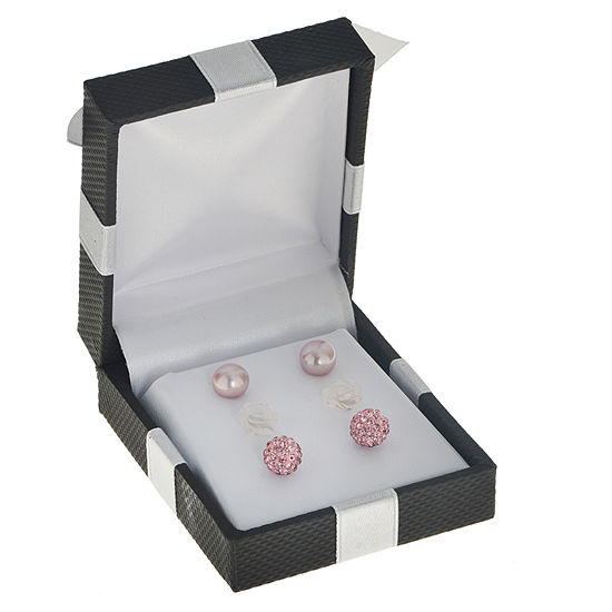 Pink Cultured Freshwater Pearl Sterling Silver 3-pc. Earring Set
