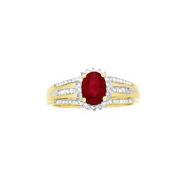 Lab-Created Red Ruby and Diamond Accent Cocktail Ring in 10K Gold