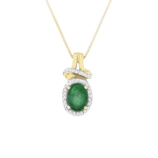 Womens 1/10 CT. T.W. Genuine Emerald 10K Gold Pendant Necklace
