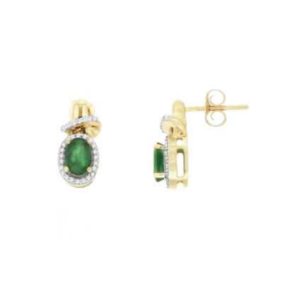 1/10 CT. T.W. Genuine Emerald 10K Gold Drop Earrings