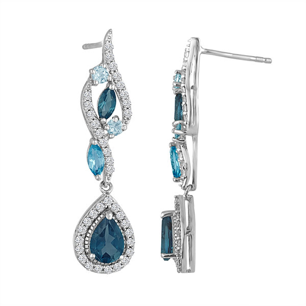 Blue Blue Topaz Sterling Silver Drop Earrings