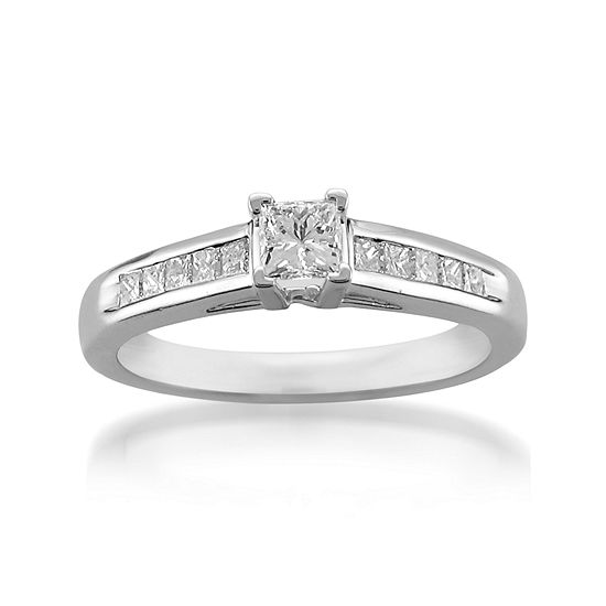 Womens 5/8 CT. T.W. Genuine White Diamond Platinum Engagement Ring