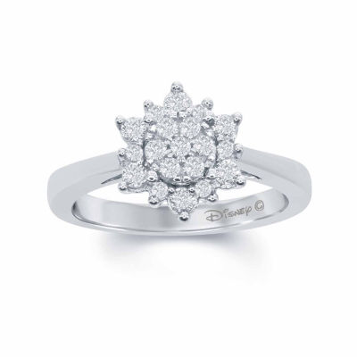 "Enchanted Disney Fine Jewelry 3/8 C.T. T.W. Diamond 10K White Gold ""Frozen"" Snow Cluster Ring"