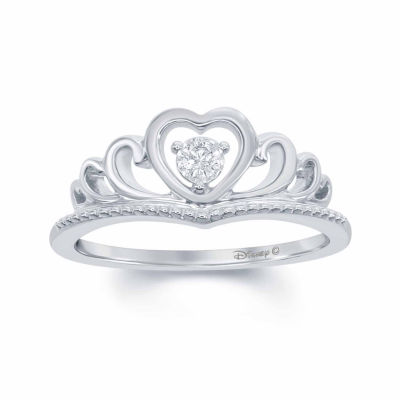 "Enchanted by Disney Diamond Accent Sterling Silver ""Disney Princess"" Crown with Heart Ring"