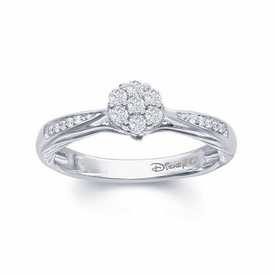 "Enchanted Disney Fine Jewelry 1/5 C.T. T.W. Genuine Diamond 10K White Gold ""Disney Princess"" Gown Ring"
