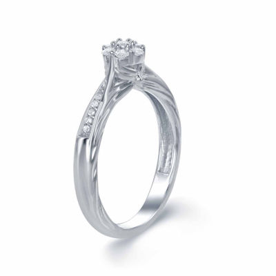 "Enchanted by Disney 1/5 C.T. T.W. Diamond 10K White Gold ""Disney Princess"" Gown Ring"