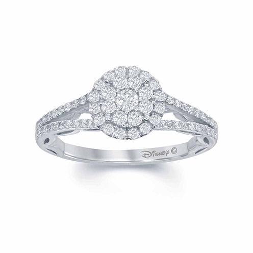 "Enchanted by Disney 5/8 C.T. T.W. Diamond 14K White Gold ""Disney Princess"" Ruffle Gown Ring"