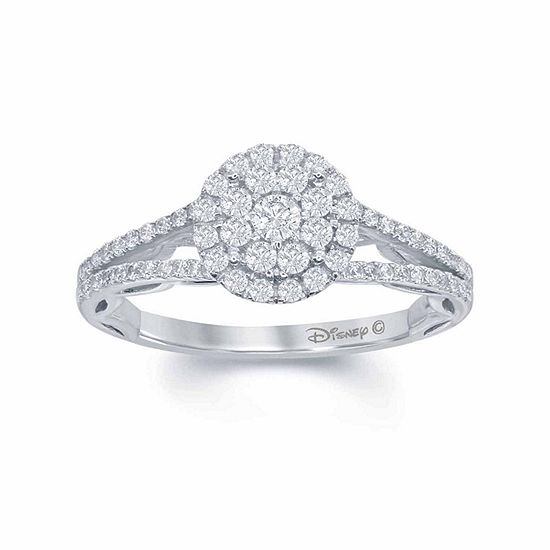 "Enchanted Disney Fine Jewelry 5/8 C.T. T.W. Genuine  Diamond 14K White Gold ""Disney Princess"" Ruffle Gown Ring"