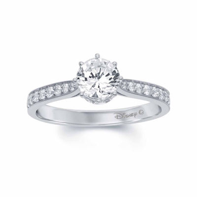 "Enchanted by Disney 1 C.T. T.W. Diamond 14K White Gold ""Disney Princess"" Tiara Ring"