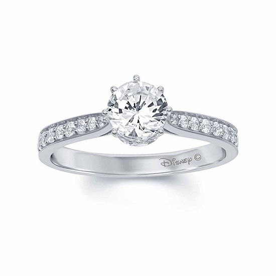 "Enchanted Disney Fine Jewelry 1 C.T. T.W. Diamond 14K White Gold ""Disney Princess"" Tiara Ring"
