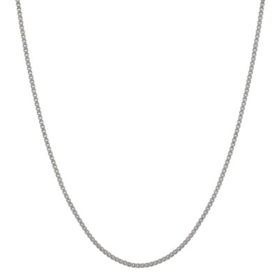 """14K White Gold 1.02mm 24"""" Box Chain Necklace"""