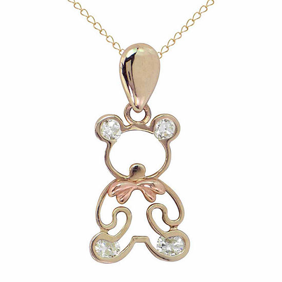 Girls Lab Created White Cubic Zirconia 14K Gold Pendant Necklace