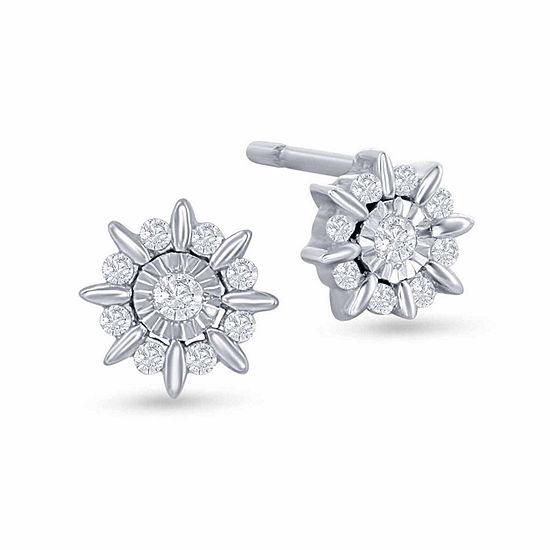 """Enchanted Disney Fine Jewelry 1/10 C.T. T.W. Diamond """"Frozen"""" Starburst Stud Earrings In Sterling Silver"""
