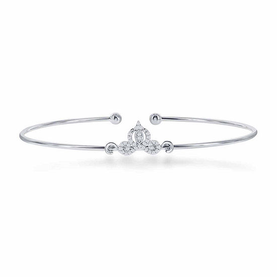 "Enchanted Disney Fine Jewelry 1/10 C.T. T.W. Diamond ""Cinderella"" Bangle In Sterling Silver"