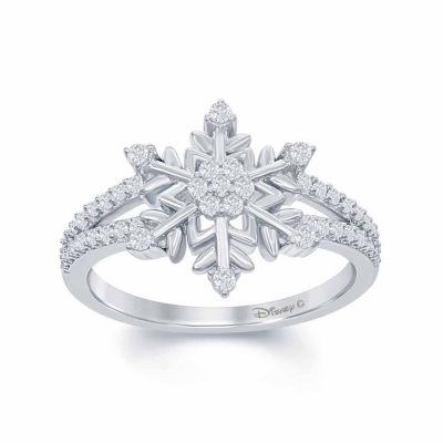 """Enchanted Disney Fine Jewelry 1/4 C.T. T.W. Diamond """"Frozen"""" Snowflake Ring In Sterling Silver"""