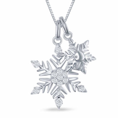 """Enchanted by Disney 1/7 C.T. T.W. Diamond """"Frozen"""" Snowflake Charm Pendant Necklace In Sterling Silver"""