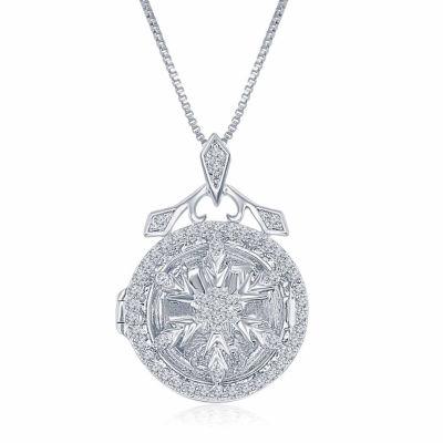 """Enchanted Disney Fine Jewelry 1/4 C.T. T.W. Diamond """"Frozen"""" Snowflake Locket Pendant Necklace In Sterling Silver"""