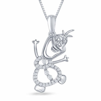 "Enchanted Disney Fine Jewelry 1/10 C.T. T.W. Diamond ""Olaf"" Pendant Necklace In Sterling Silver"