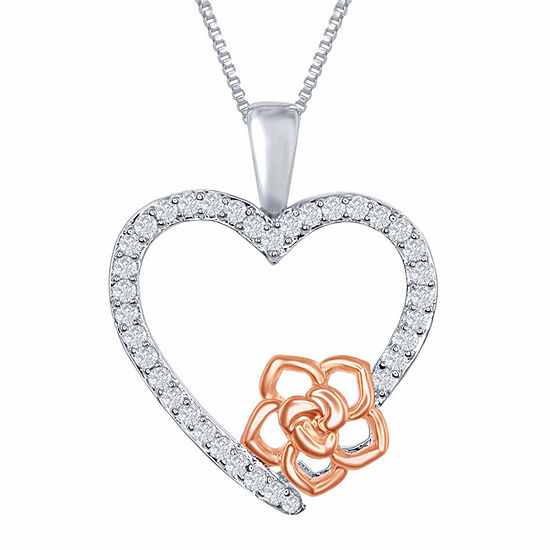 "Enchanted Disney Fine Jewelry 1/6 C.T. T.W. Diamond Sterling Silver And 14K Rose Gold Accent ""Belle"" Heart Pendant Necklace"