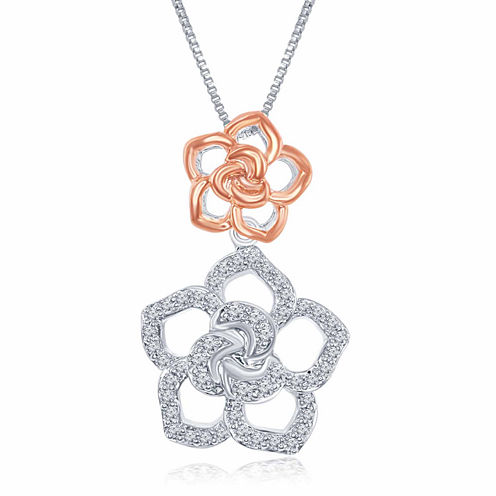 """Enchanted by Disney 1/5 C.T. T.W. Diamond Sterling Silver With 14K Rose Gold Accent """"Belle"""" Pendant Necklace"""