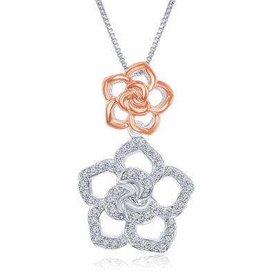 "Enchanted Disney Fine Jewelry 1/5 C.T. T.W. Diamond Sterling Silver With 14K Rose Gold Accent ""Belle"" Pendant Necklace"