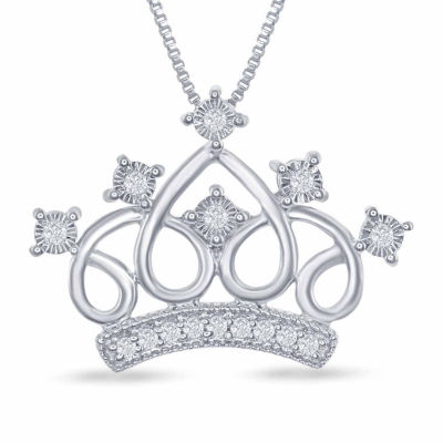 "Enchanted Disney Fine Jewelry 1/10 C.T. T.W. Genuine Diamond ""Cinderella"" Tiara Pendant Necklace In Sterling Silver"