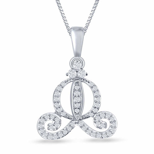 "Enchanted by Disney 1/5 C.T. T.W. Diamond ""Cinderella"" Carriage Pendant Necklace In Sterling Silver"