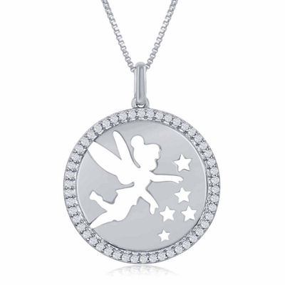 "Enchanted Disney Fine Jewelry 1/5 C.T. T.W. Diamond ""Tinker Bell"" Disc Pendant Necklace In Sterling Silver"