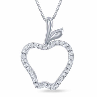 "Enchanted Disney Fine Jewelry 1/10 C.T. T.W. Diamond ""Disney Princess"" Apple Pendant Necklace In Sterling Silver"