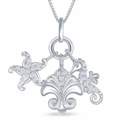 "Enchanted Disney Fine Jewelry 1/10 C.T. T.W. Diamond ""Ariel"" Sea Life Charm Pendant Necklace In Sterling Silver"