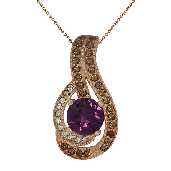 Womens Lab Created Purple Crystal Sterling Silver Pendant Necklace