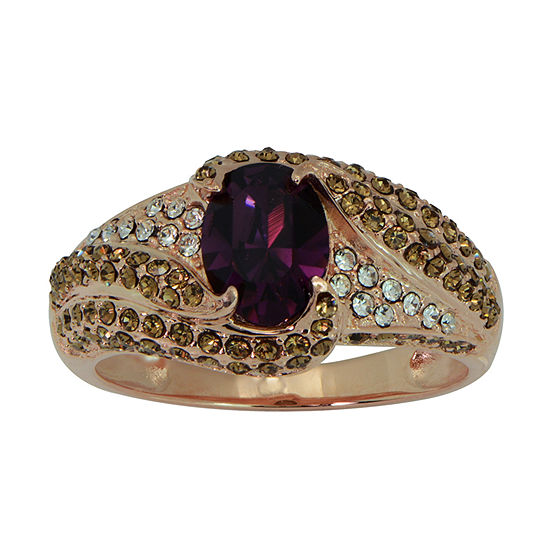 Womens Lab Created Purple Crystal Sterling Silver Cocktail Ring