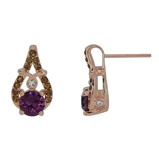 Lab Created Purple Crystal Sterling Silver 14.6mm Stud Earrings