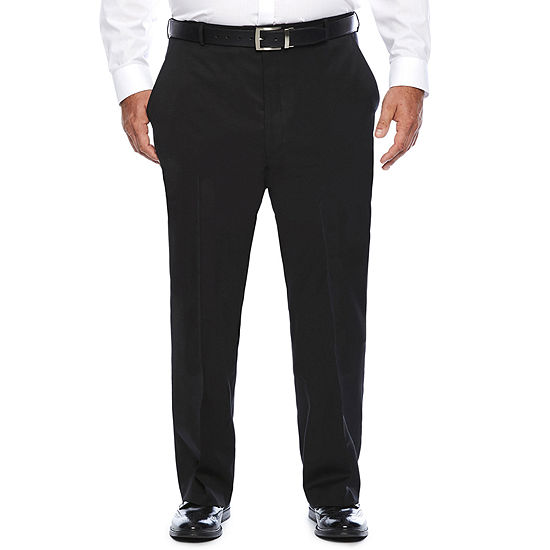 Stafford Travel Wool Blend Stretch Suit Pants- Portly Fit