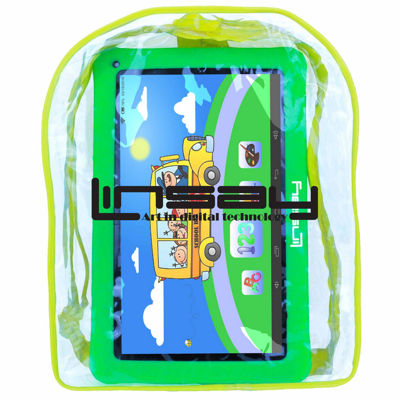 "LINSAY® New 10.1"" Kids Funny Tab Quad Core 1024x600 HD 16GB Android 6.0 with Green Kids Defender Case and Kids Bag Pack"