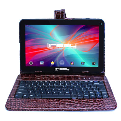 LINSAY® New 10.1'' Quad Core 1024x600HD 8GB Tablet with Brown Crocodile Style Leather Keyboard Case