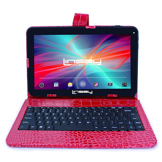 "LINSAY 10.1"" Quad-Core 2GB RAM 16GB Android 9.0 Pie Tablet with Red Crocodile Style Keyboard Case"