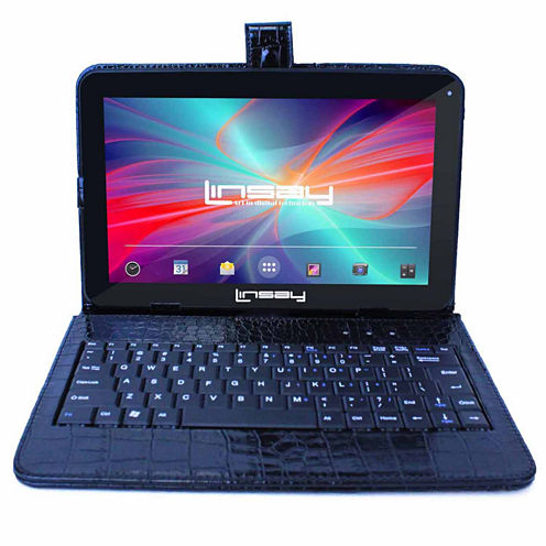 LINSAY® New 10.1'' Quad Core 1024x600HD 8GB Tablet with Black Crocodile Style Leather Keyboard Case